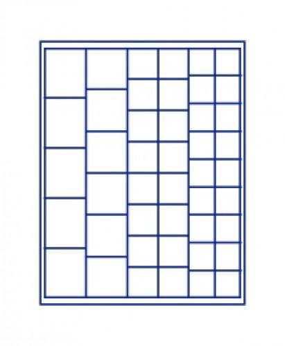 Münzenbox Marineblau (quadratische Vertiefungen) versch. Ø