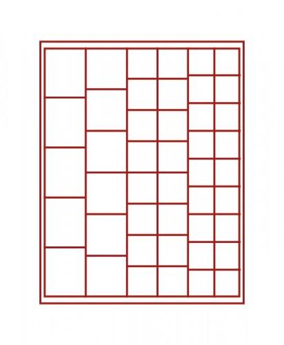 Münzenbox (quadratische Vertiefungen) verschiedene Ø