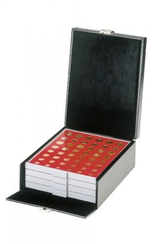 kleiner Koffer aus Kunstleder für Münzenboxen