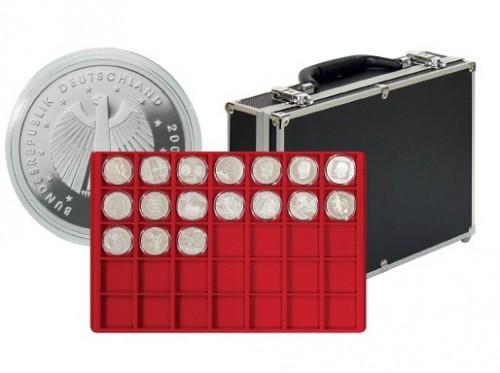 Münzenkoffer mit 8 Tableaus für 280 Münzen bis 39 mm