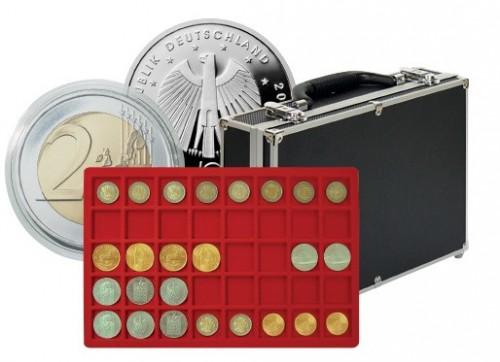 Münzenkoffer mit 8 Tableaus für 320 Münzen bis 34 mm