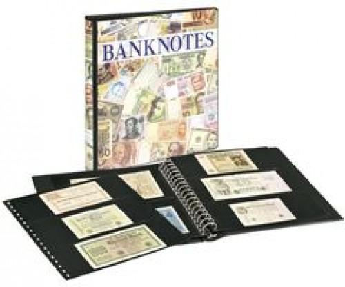 Banknotenalbum mit 10 Klarischthüllen und schwarzen Zwischenblättern