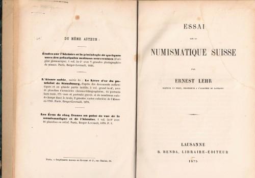 Essai sur la Numismatique Suisse (antiquarisch)