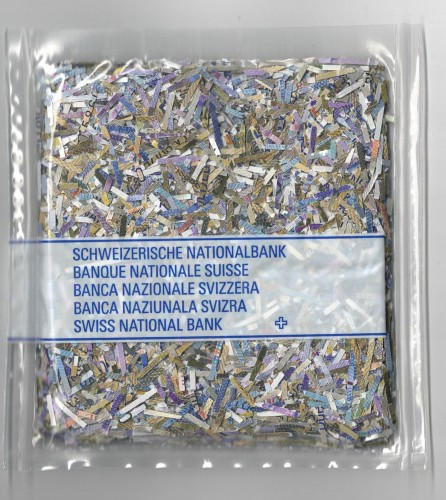 Schweizer Banknoten geschreddert