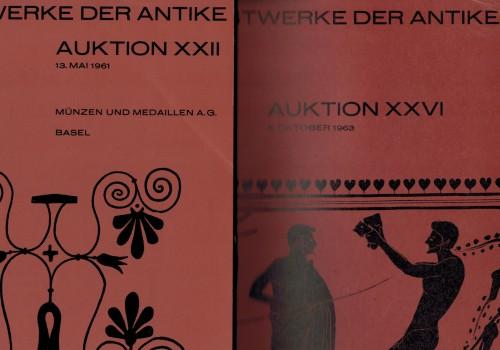 Auktionskataloge Münzen und Medaillen AG Basel Kunstwerke der Antike - 2 Auktionskataloge von 1961 und 1963