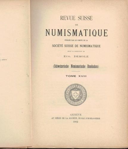 Revue Suisse de Numismatique 1912 (antiquarisch)