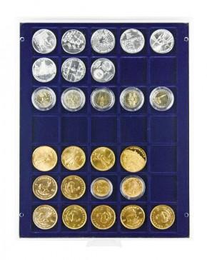 Münzenbox Marineblau (quadratische Vertiefungen) 36 mm Ø