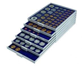 Münzenbox Marineblau (runde Vertiefungen) 25.75 mm Ø