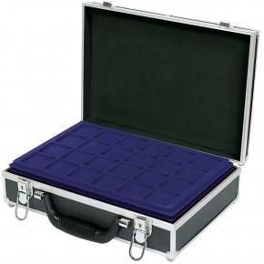 Grosser Münzen-Koffer mit 8 blauen Tableaus für 355 Münzen