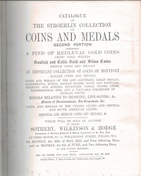 Catalogue of the Stroehlin Collection of Coins and Medals (second portion) (antiquarisch)